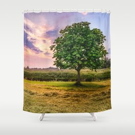 Green Tree and Sunset Sky Shower Curtain