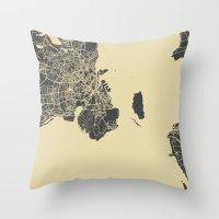 copenhagen Throw Pillows featuring Copenhagen map by Map Map Maps