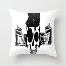 Live , death, banner , skull art, custom gift design Throw Pillow
