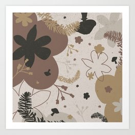 Autumn Mushrooms and Floral Pattern in Earth Tones Art Print