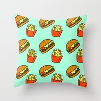 fries Throw Pillows featuring Burgers & Fries by CozyReverie