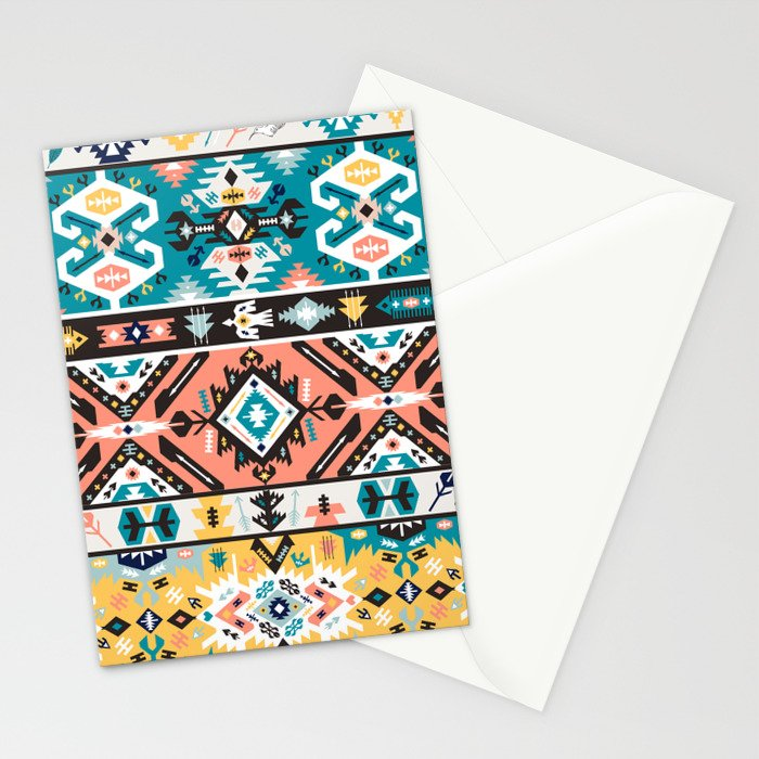 Tribal chic seamless colorful patterns Stationery Cards