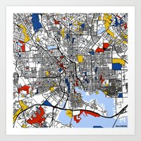 baltimore Art Prints featuring Baltimore  by Mondrian Maps