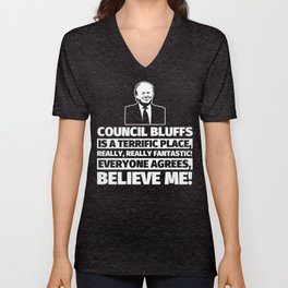 Council Bluffs Funny Gifts - City Humor Unisex V-Neck