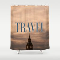 travel poster Shower Curtains featuring Travel by Efty