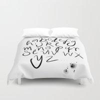 alphabet Duvet Covers featuring Alphabet by Heidi Nicole