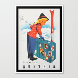 Winter in Austria - Vintage Travel Poster Canvas Print