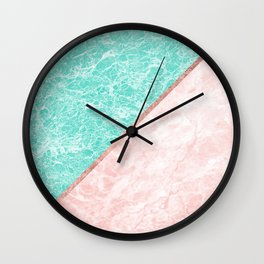 Turquoise teal pink rose gold geometrical marble Wall Clock