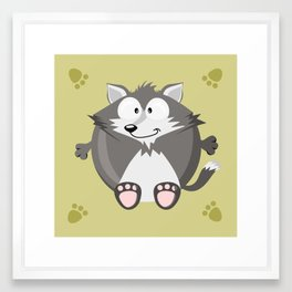 Wolf from the circle series Framed Art Print