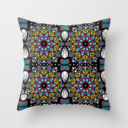 Jeweled Kaleidoscope Mandalas Throw Pillow