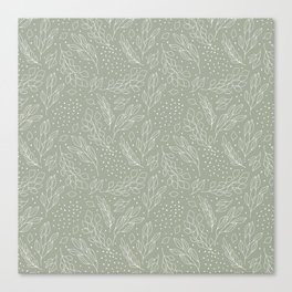 Pastel green white hand painted leaves polka dots pattern Canvas Print