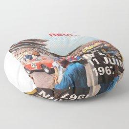 24hs Le Mans 1967, vintage poster Floor Pillow