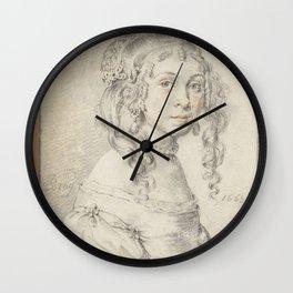 Jan de Bray - Portret van een onbekend meisje Wall Clock