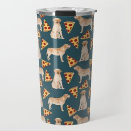 Yellow Labrador pizza cheesy slice of pizza food trendy pet gifts for yellow lab owners dog breed Travel Mug