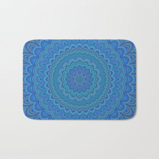 Blue flower mandala Bath Mat