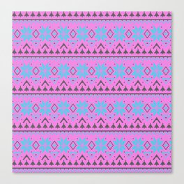 Knitted Christmas pattern, pink blue Canvas Print