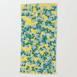 Summer Flowers Yellow Beach Towel