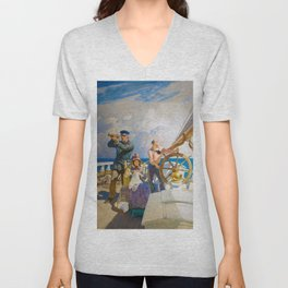 They Took Their Wives with Them on Their Cruises, 1937 by Newell Convers Wyeth Unisex V-Neck
