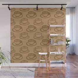 Rustic Shabby Chic Coffee Cups Wall Mural