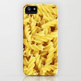 Yellow spiral pasta pattern iPhone Case