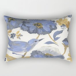 Blue and Yellow Flowers with Bird Rectangular Pillow