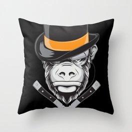 Savage Society: Monocle Monkey Throw Pillow