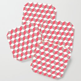 Diamond Repeating Pattern In Poppy and Soft Grey Coaster