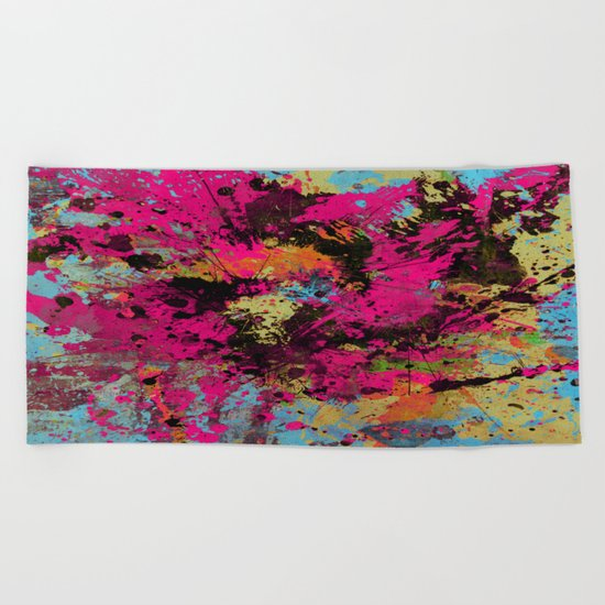 Express Yourself IV - Abstract, oil painting Beach Towel