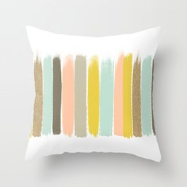 Madison - Brushstroke art print in modern colors bright and happy gifts for trendy girls Throw Pillow