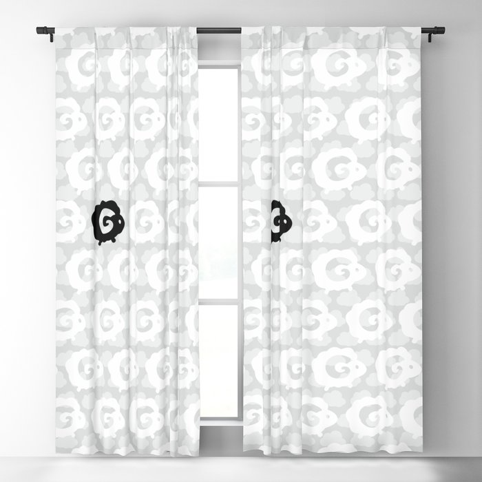 Black Sheep Pattern Blackout Curtain
