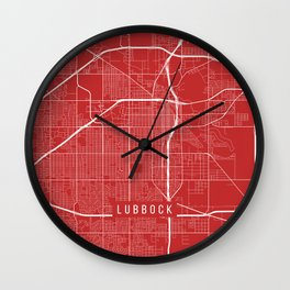 Lubbock Map, USA - Red Wall Clock