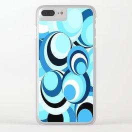 Spirals - New wave Blue Clear iPhone Case