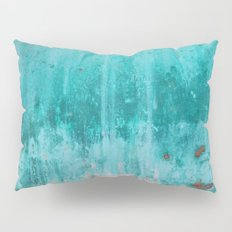 Weathered turquoise concrete wall texture Pillow Sham