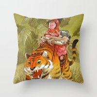 bouletcorp Throw Pillows featuring Fluo Tiger by Bouletcorp
