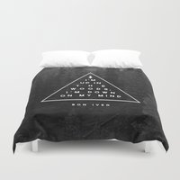 text Duvet Covers featuring Woods -- Bon Iver by Zeke Tucker