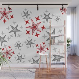Christmas Stars silver red pattern Wall Mural