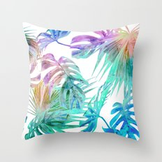 Simply Palm Leaves in Hologram Island Throw Pillow