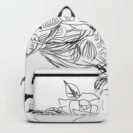 Minimal Drawing of Woman with Flowers in Hair - Black and White Backpack