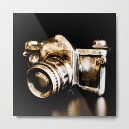 Candid Thoughts: A Modern Silver and Gold Camera Metal Print
