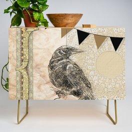 Crow, Brown Banner, Doily, Digital Design Credenza