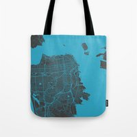 san francisco map Tote Bags featuring San Francisco by Map Map Maps