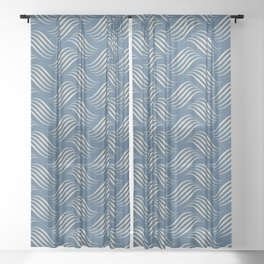 Beige Wavy Tessellation Lines on Dark Tropical Blue Pair To 2020 Color of the Year Chinese Porcelain Sheer Curtain