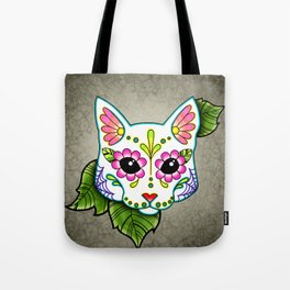White Cat - Day of the Dead Sugar Skull Kitty Tote Bag