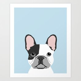 french bulldog art portrait - aqua light blue cute dog design Art Print