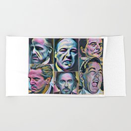 Gangsters painting movie Goodfellas Godfather Casino Scarface Sopranos Beach Towel