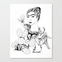frida kahlo Canvas Prints featuring Frida Kahlo by eva vasari