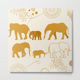 Indian Inspired Elephant Design Metal Print