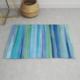 Blue and Green Watercolor Stripes - Underwater Reeds / Abstract Rug