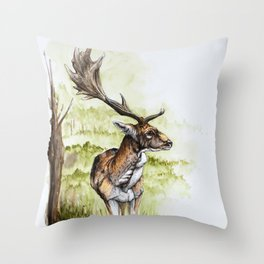 Deer in Phoenix Park Throw Pillow