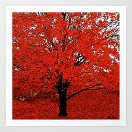 TREES RED Art Print